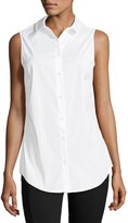Joan Vass Sleeveless Button-Front Shirt, White