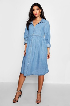boohoo Maternity Button Through Smock Dress
