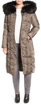 Via Spiga Women's Detachable Faux Fur Trim Hooded Long Down & Feather Fill Coat