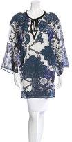 Oscar de la Renta Floral Print Lace Paneled Tunic