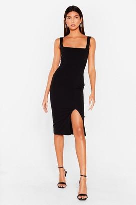 Nasty Gal Womens Squarin' to Go Midi Dress - Black