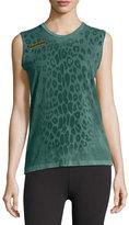 Freecity Leopard Goldenline Sleeveless Tee, Green