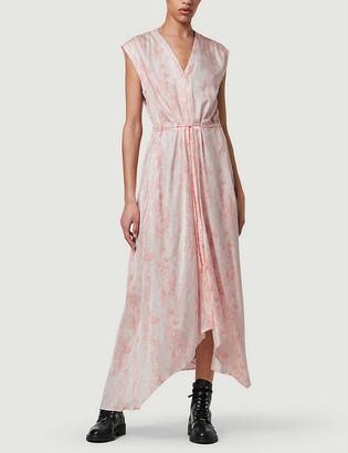 AllSaints Tate Masala snake-print crepe maxi dress