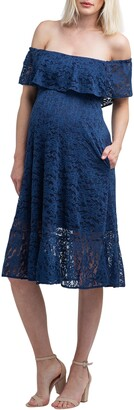 Nom Maternity Lucia Off the Shoulder Lace Maternity Dress