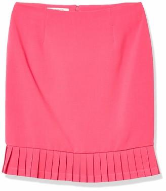 Kasper Women's Petite Crepe Border Hem Pleated Skirt