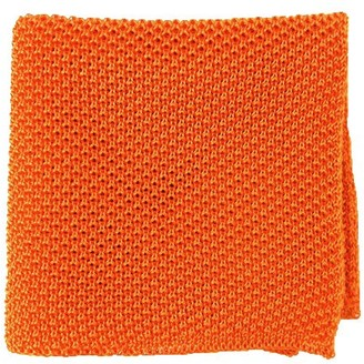 Tie Bar Solid Knit Tangerine Pocket Square