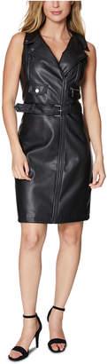 Laundry by Shelli Segal Faux-Leather Moto Jacket Dress