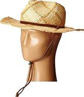 Scala Women's Fancy Weave Raffia Hat with Leather