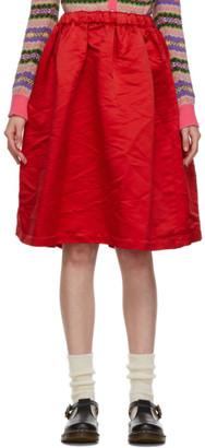 COMME DES GARÇONS GIRL Red Satin Ruffle Hem Skirt