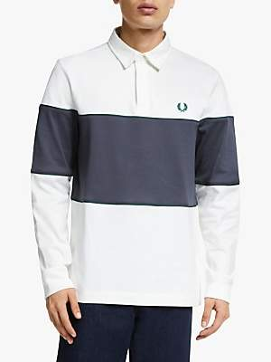 Fred Perry Panelled Long Sleeve Polo Shirt, Snow White