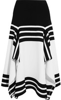 Rosetta Getty Asymmetric Striped Stretch-jersey Midi Skirt - small
