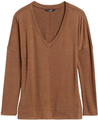 Banana Republic Petite Luxespun Boxy V-Neck T-Shirt