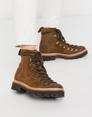 Grenson Nanette hiker boot in brown suede