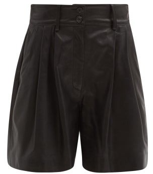 Dolce & Gabbana High-rise Pleated Leather Suit Shorts - Black