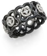 De Beers Moonlight Enchanted Lotus Diamond, 18K White Gold & Black Ceramic Band Ring