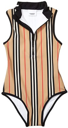 BURBERRY KIDS Siera Stripe Swimsuit (Little Kids/Big Kids) (Archive Beige IP Stripe) Girl's Swimsuits One Piece