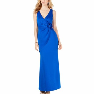 Jessica Howard Women's Sleeveless Surplice Sheath Gown with Rosette Detail