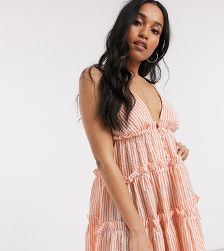 Asos DESIGN Petite button front tiered mini sundress in stripe