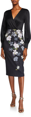 Ted Baker Opal Floral Long-Sleeve Midi Dress