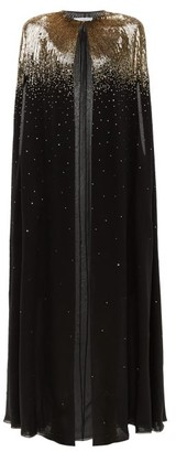 Givenchy Sequinned Silk-chiffon Cape - Black Gold