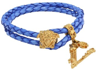 Versace Medusa Braided Leather Wrap Bracelet