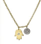Gold Hamsa Diamond Disc Pendant Necklace