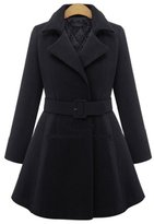 YINHAN? Women's Plus Size Patchwork Tailored Collar With Blet Trench Coat 3XL
