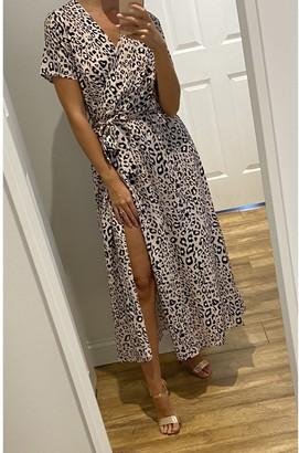 Gini London Animal Printed Short sleeve Midi Wrap Dress In Blush