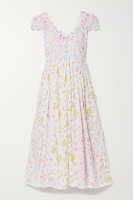 LoveShackFancy Archer Crochet-trimmed Floral-print Broderie Anglaise Cotton Dress - White