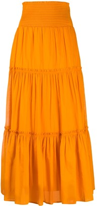 Tory Burch Smocked Tiered Maxi Skirt