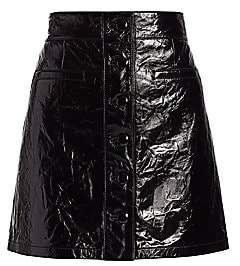 7 For All Mankind Women's Patent Leather Button-Front A-Line Skirt