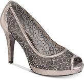 Adrianna Papell Foxy Peep-Toe Mesh Evening Pumps Women's Shoes