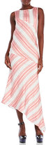 Ter Et Bantine Variegated Stripe Asymmetrical Silk Dress