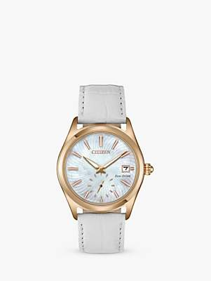 Citizen EV1033-08D Women's Corso Eco-Drive Date Leather Strap Watch, White/Mother of Pearl