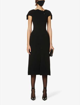 Roland Mouret Parkes safety-pin embellished stretch-woven midi dress