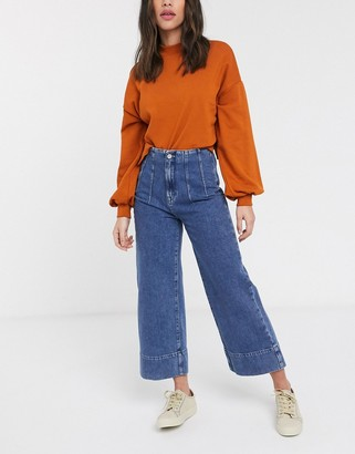 Selected cropped wide leg jeans with high waist in blue