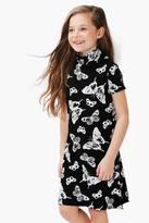 Boohoo Girls Butterfly Print Roll Neck Dress