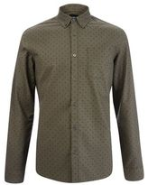 Burton Burton Khaki Long Sleeve Oxford Print Shirt