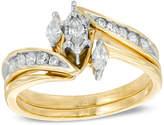 Zales 1/2 CT. T.W. Marquise Diamond Three Stone Slant Bridal Set in 10K Gold