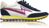 Marc Jacobs Astor White & Multicolor Nylon Sneaker w/Lightning Bolt Logo