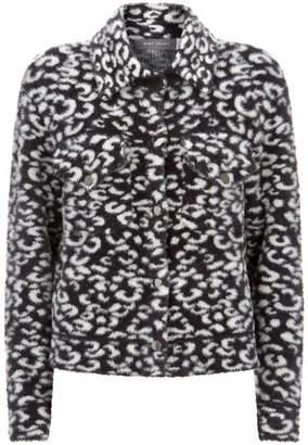 Mint Velvet Grey Animal Knitted Jacket