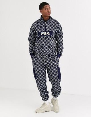 Fila Cepe all-over print fleece cargo pant in navy