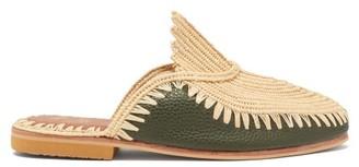 Kilometre Paris - Raffia And Leather Backless Loafers - Dark Green