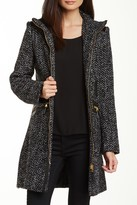 Via Spiga Zip Front Chevron Knit Coat