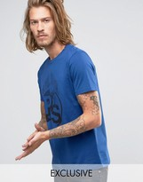 Paul Smith PS by T-Shirt With PS Print In Slim Fit Indigo EXCLUSIVE
