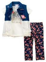 Nicole Miller Denim Lace Vest, Tee, & Printed Capri Set (Toddler Girls)