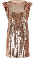 River Island Womens Rose gold tone sequin frill oversized T-shirt
