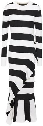 Paper London Cover Ruffled Striped Wool-blend Midi Dress