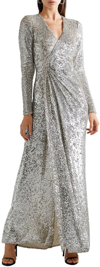 Thumbnail for your product : Reem Acra Wrap-effect Sequined Tulle Gown