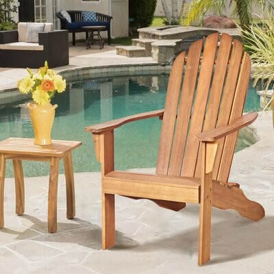 Weyauwega Outdoor Durable Patio Solid Wood Adirondack Chair Rosecliff Heights Color: Gray